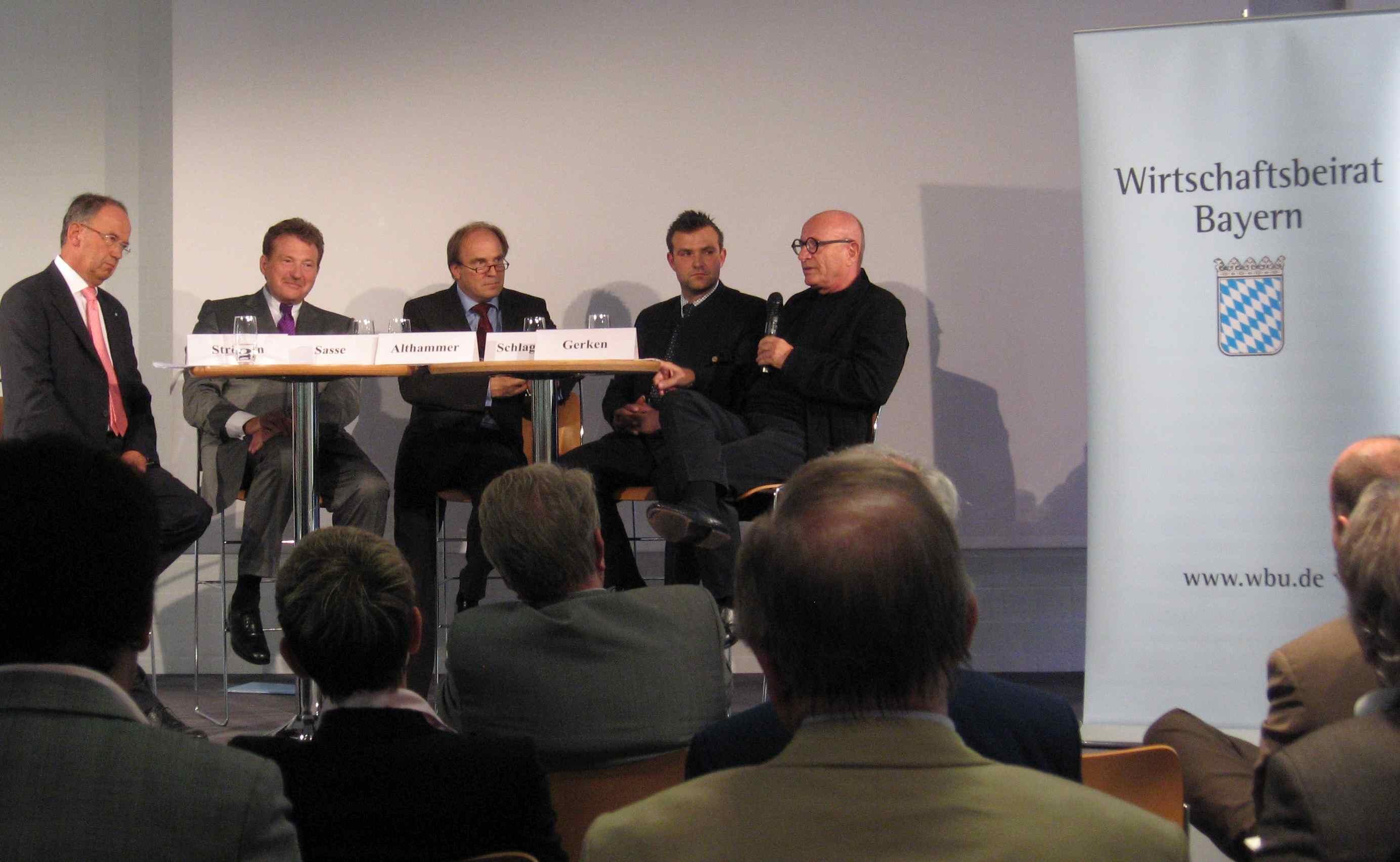 H. Strötgen, Dr. Sasse, Moderator P. Althammer, G. Schlagbauer, G. Gerken (vlnr)