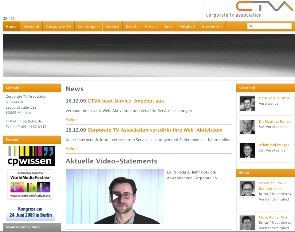 Die Corporate TV Association (CTVA) e.V. mit neuem Internet-Auftritt; Quelle www.ctva.de